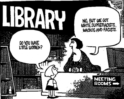 libraries allow racists cartoon